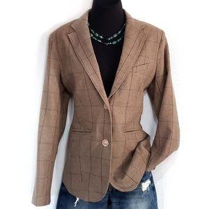 Eddie Bauer Wool Plaid Tweed Blazer Jacket Coat